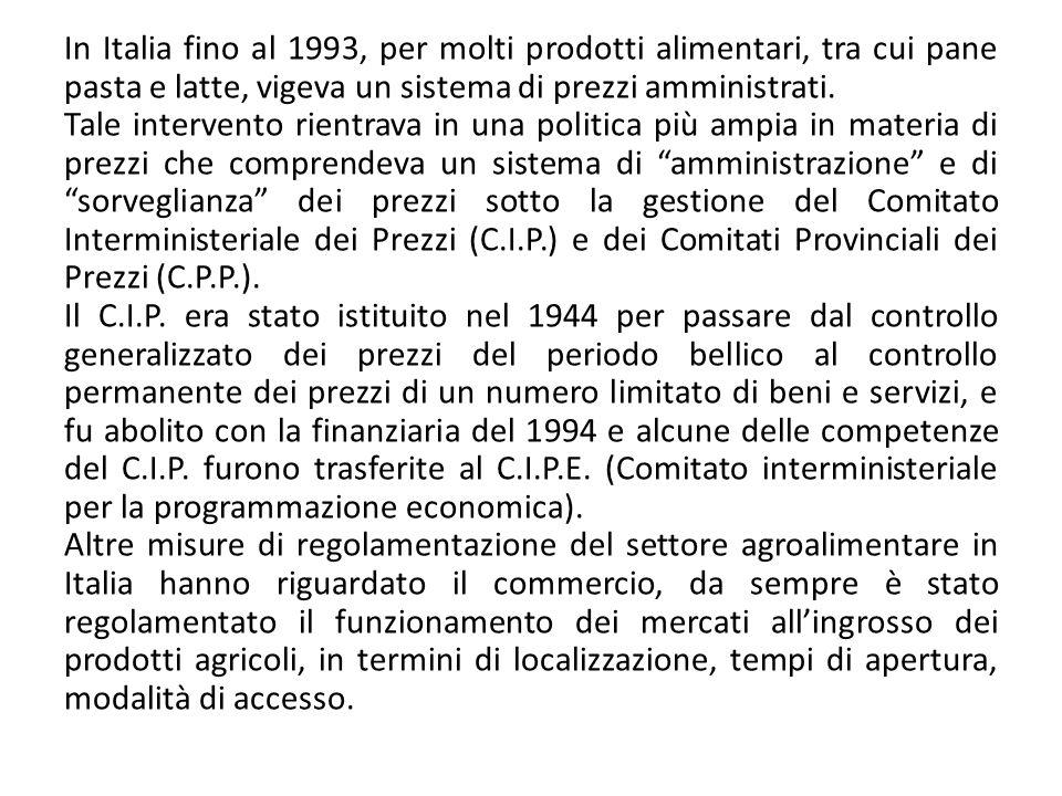 In Italia fino al 1993, per molti prodotti alimentari, tra cui pane pasta e latte, vigeva un sistema di prezzi amministrati. Tale intervento rientrava