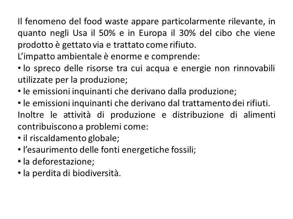Il fenomeno del food waste appare particolarmente rilevante, in quanto negli Usa il 50% e in Europa il 30% del cibo che viene prodotto è gettato via e