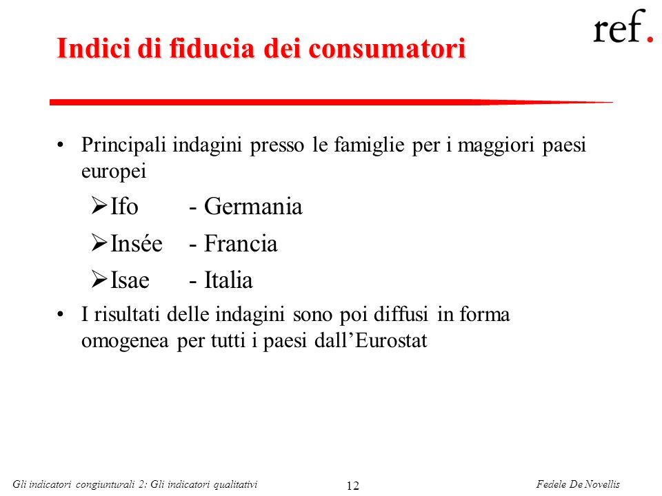 Fedele De NovellisGli indicatori congiunturali 2: Gli indicatori qualitativi 12 Indici di fiducia dei consumatori Principali indagini presso le famigl
