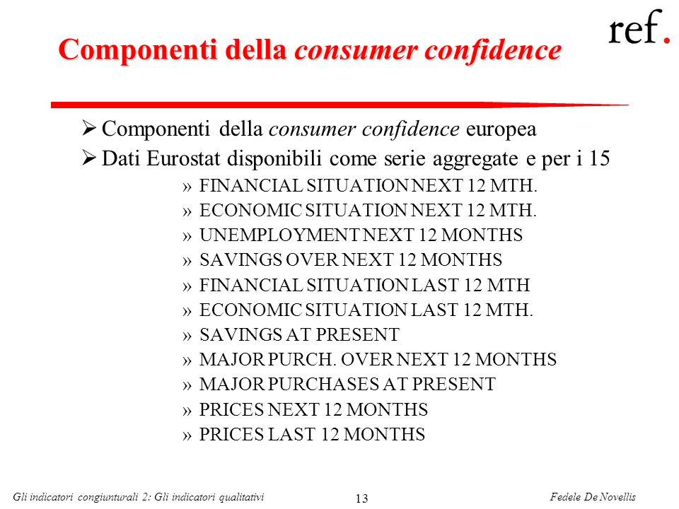 Fedele De NovellisGli indicatori congiunturali 2: Gli indicatori qualitativi 13 Componenti della consumer confidence Componenti della consumer confide