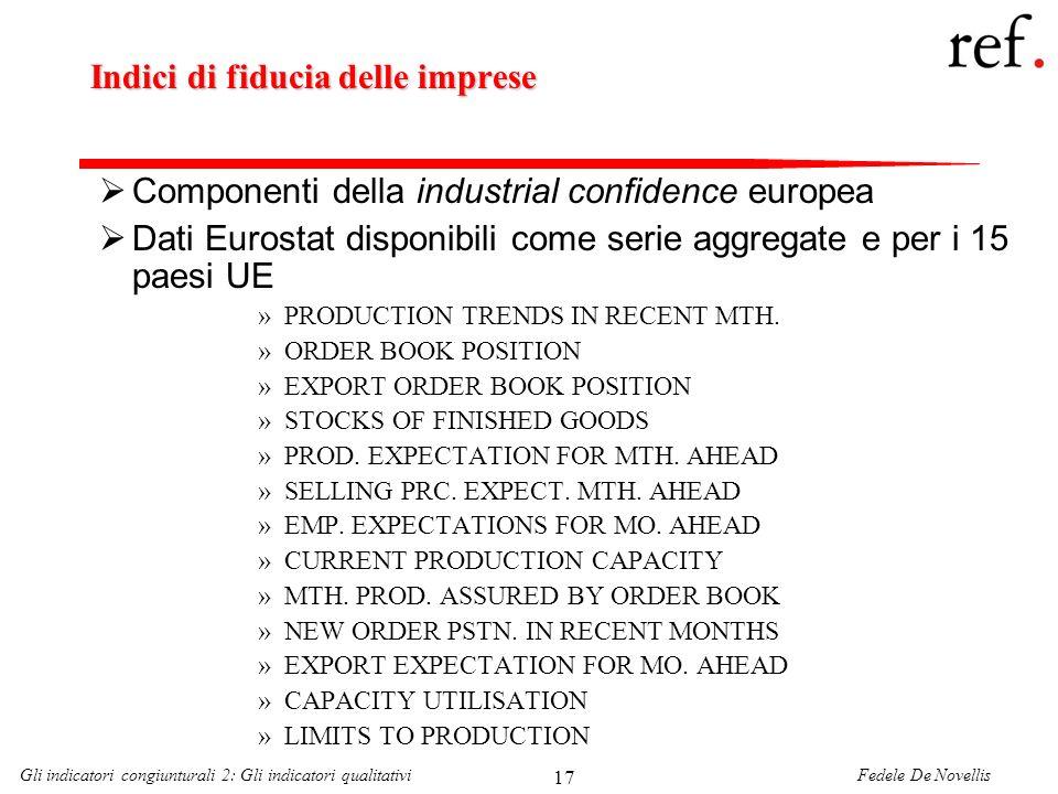 Fedele De NovellisGli indicatori congiunturali 2: Gli indicatori qualitativi 17 Indici di fiducia delle imprese Componenti della industrial confidence