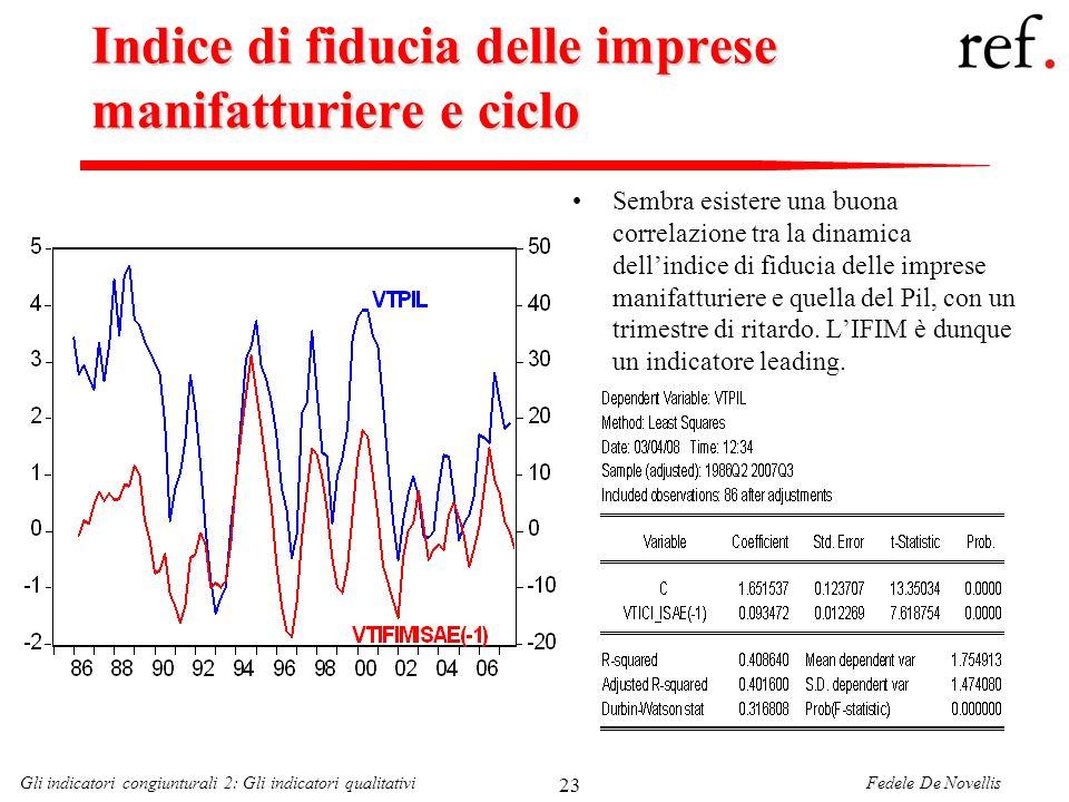 Fedele De NovellisGli indicatori congiunturali 2: Gli indicatori qualitativi 23 Indice di fiducia delle imprese manifatturiere e ciclo Sembra esistere