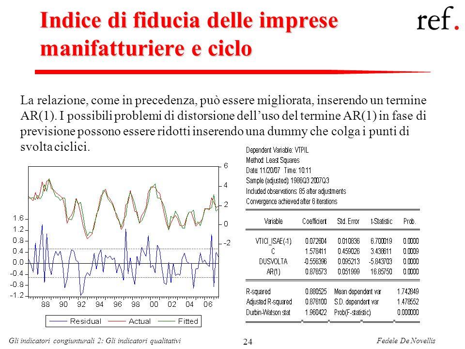 Fedele De NovellisGli indicatori congiunturali 2: Gli indicatori qualitativi 24 Indice di fiducia delle imprese manifatturiere e ciclo La relazione, c