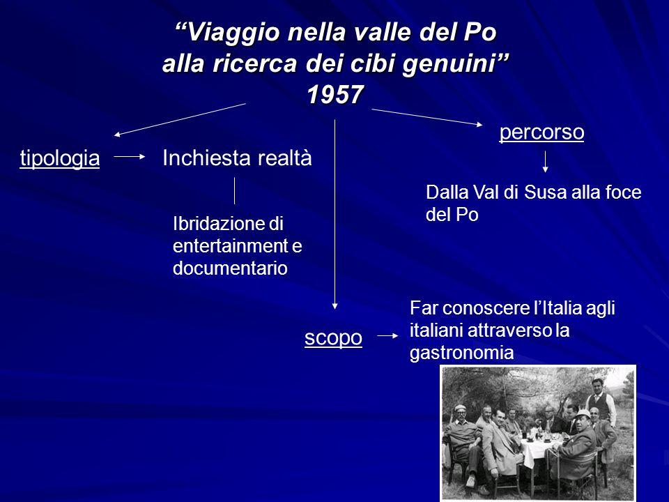 Viaggio nella valle del Po alla ricerca dei cibi genuini 1957 tipologiaInchiesta realtà Ibridazione di entertainment e documentario scopo Far conoscer