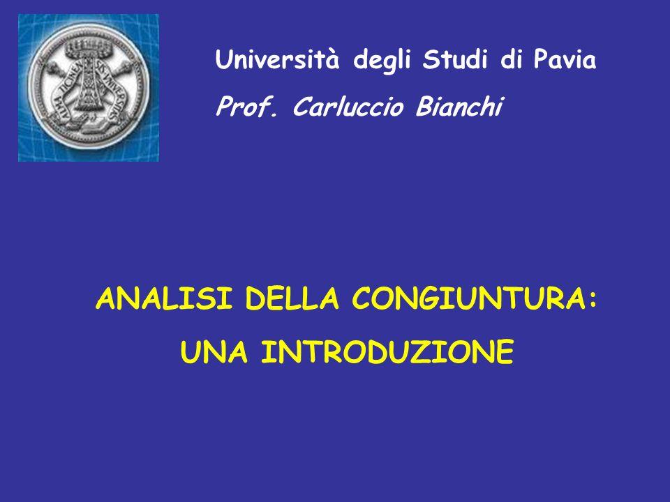 9) La teoria sottostante lanalisi congiunturale La teoria sottostante lanalisi congiunturale si basa sulla separazione tra le tendenze di fondo delleconomia (i trend) e le deviazioni da questultima (le fluttuazioni cicliche).