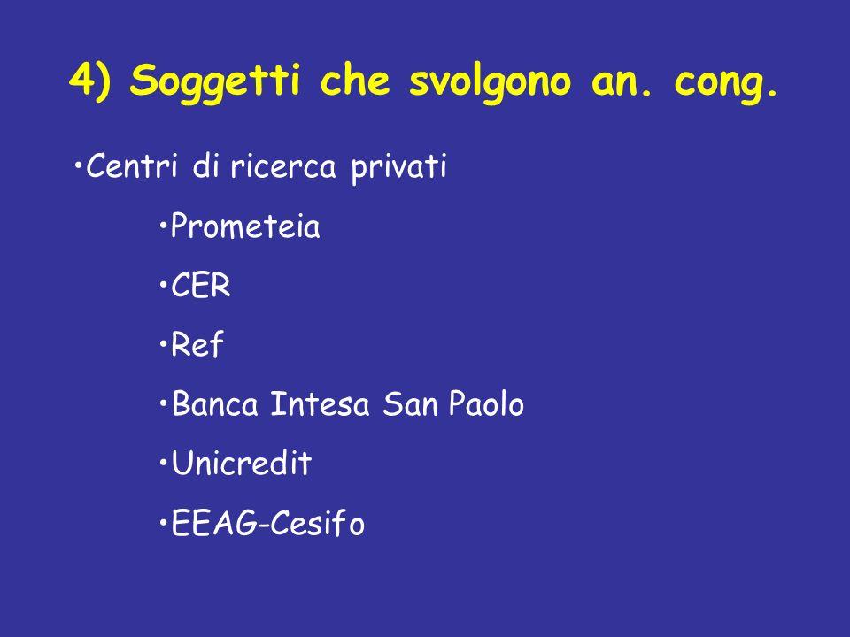 4) Soggetti che svolgono an. cong. Centri di ricerca privati Prometeia CER Ref Banca Intesa San Paolo Unicredit EEAG-Cesifo