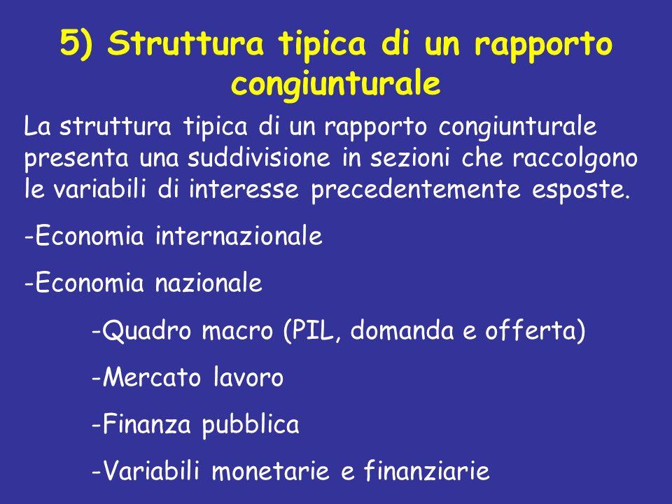 5) Struttura tipica di un rapporto congiunturale La struttura tipica di un rapporto congiunturale presenta una suddivisione in sezioni che raccolgono