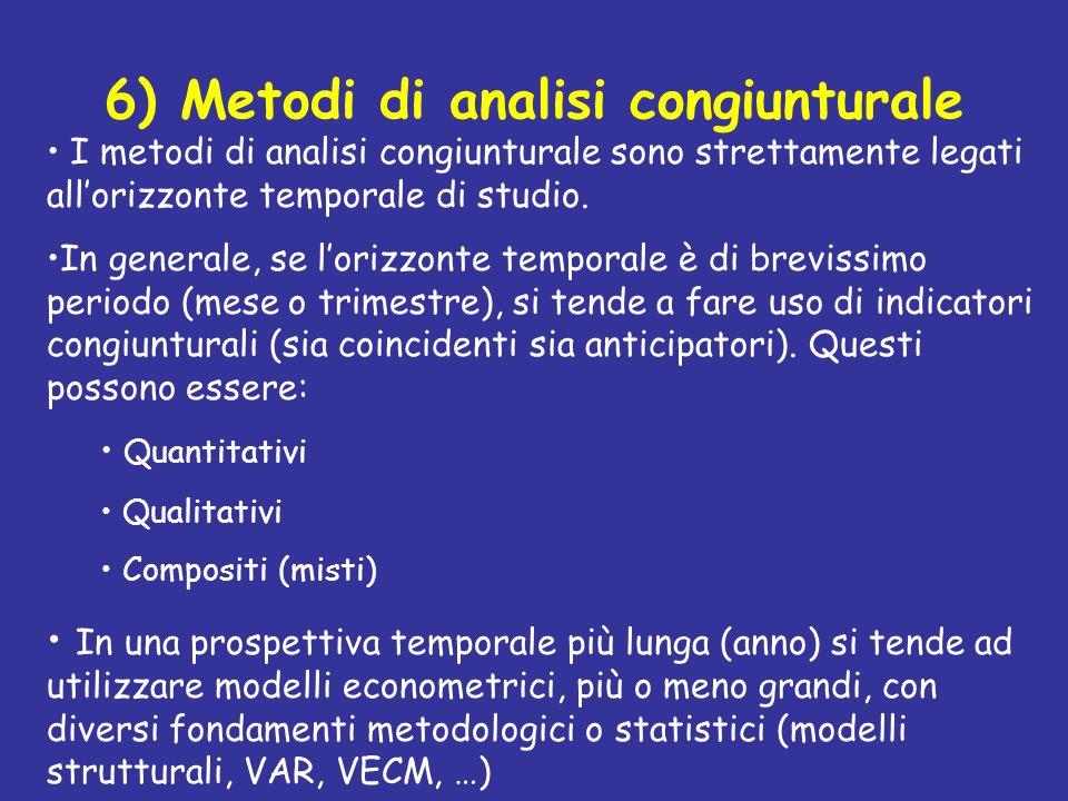 6) Metodi di analisi congiunturale I metodi di analisi congiunturale sono strettamente legati allorizzonte temporale di studio. In generale, se lorizz