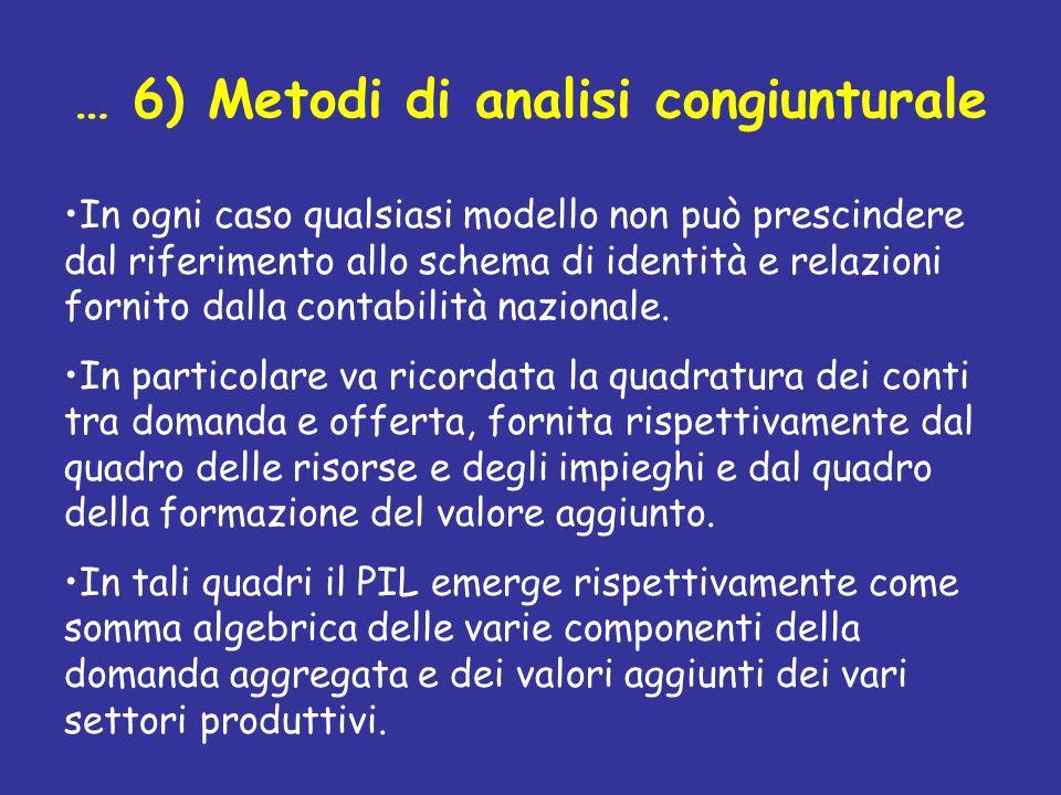 … 6) Metodi di analisi congiunturale In ogni caso qualsiasi modello non può prescindere dal riferimento allo schema di identità e relazioni fornito da