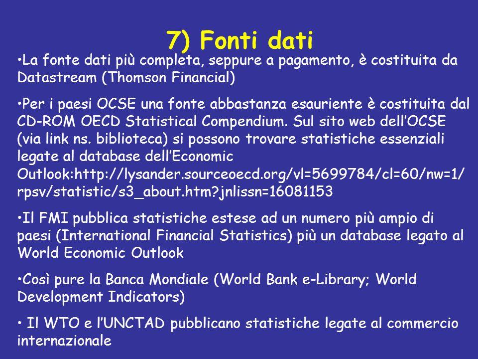 7) Fonti dati La fonte dati più completa, seppure a pagamento, è costituita da Datastream (Thomson Financial) Per i paesi OCSE una fonte abbastanza es