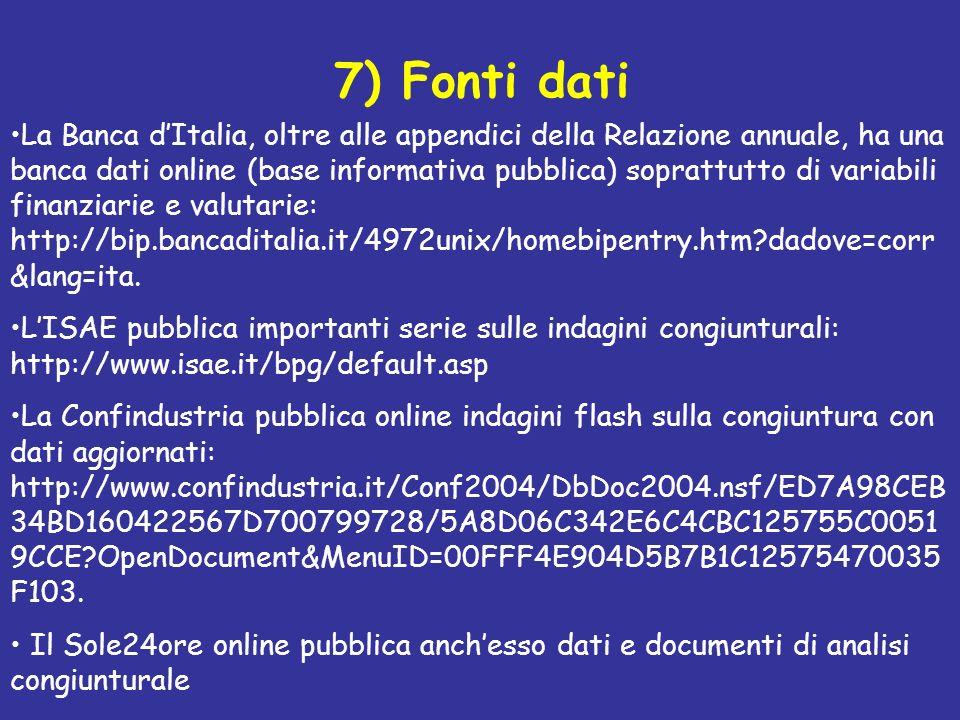 7) Fonti dati La Banca dItalia, oltre alle appendici della Relazione annuale, ha una banca dati online (base informativa pubblica) soprattutto di vari