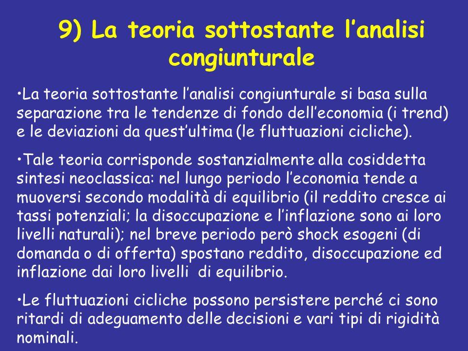 9) La teoria sottostante lanalisi congiunturale La teoria sottostante lanalisi congiunturale si basa sulla separazione tra le tendenze di fondo dellec