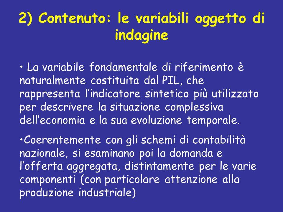 2) Contenuto: le variabili oggetto di indagine La variabile fondamentale di riferimento è naturalmente costituita dal PIL, che rappresenta lindicatore
