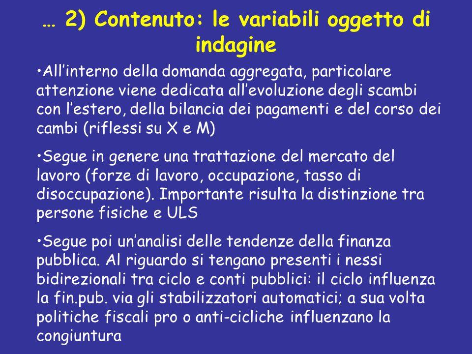 … 2) Contenuto: le variabili oggetto di indagine Allinterno della domanda aggregata, particolare attenzione viene dedicata allevoluzione degli scambi
