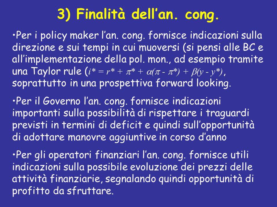 3) Finalità dellan. cong. Per i policy maker lan. cong. fornisce indicazioni sulla direzione e sui tempi in cui muoversi (si pensi alle BC e allimplem