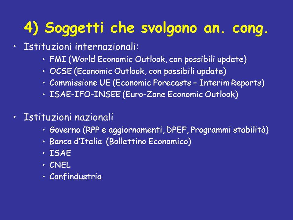 4) Soggetti che svolgono an. cong. Istituzioni internazionali: FMI (World Economic Outlook, con possibili update) OCSE (Economic Outlook, con possibil