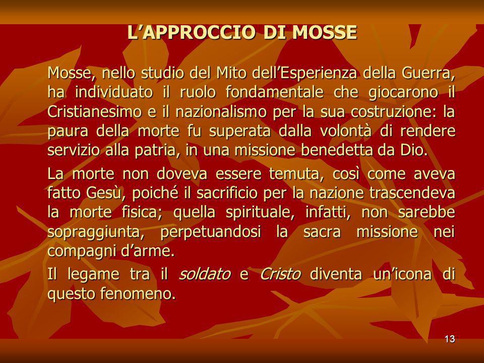 13 LAPPROCCIO DI MOSSE Mosse, nello studio del Mito dellEsperienza della Guerra, ha individuato il ruolo fondamentale che giocarono il Cristianesimo e