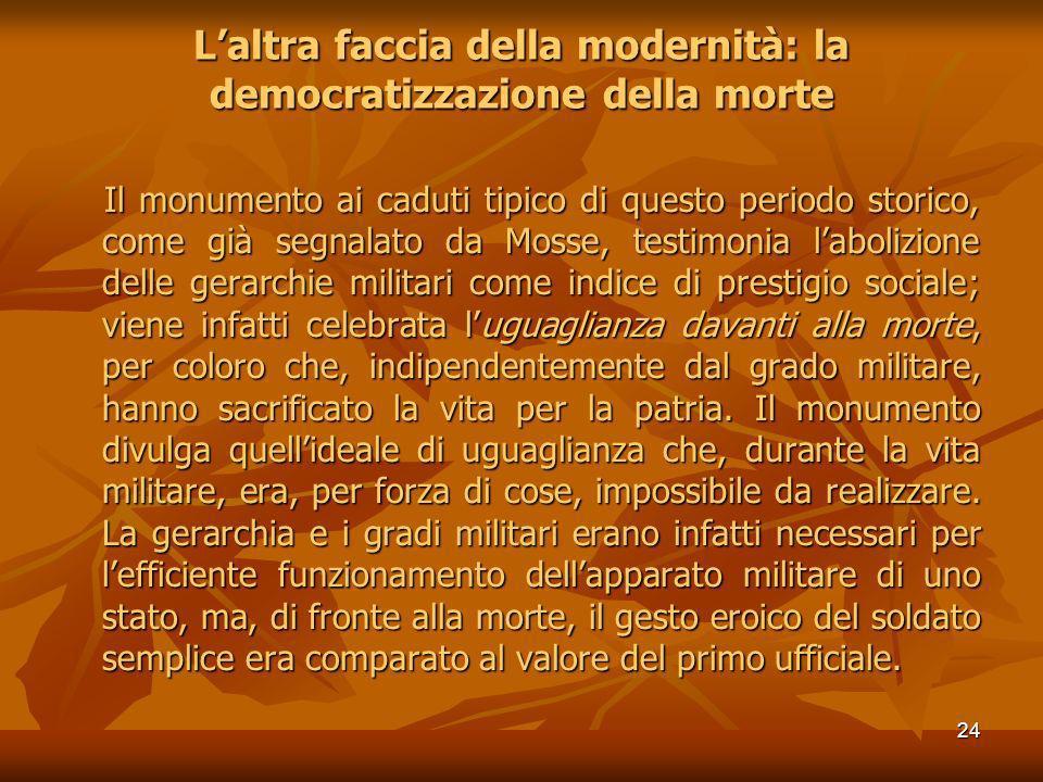 24 Laltra faccia della modernità: la democratizzazione della morte Il monumento ai caduti tipico di questo periodo storico, come già segnalato da Moss