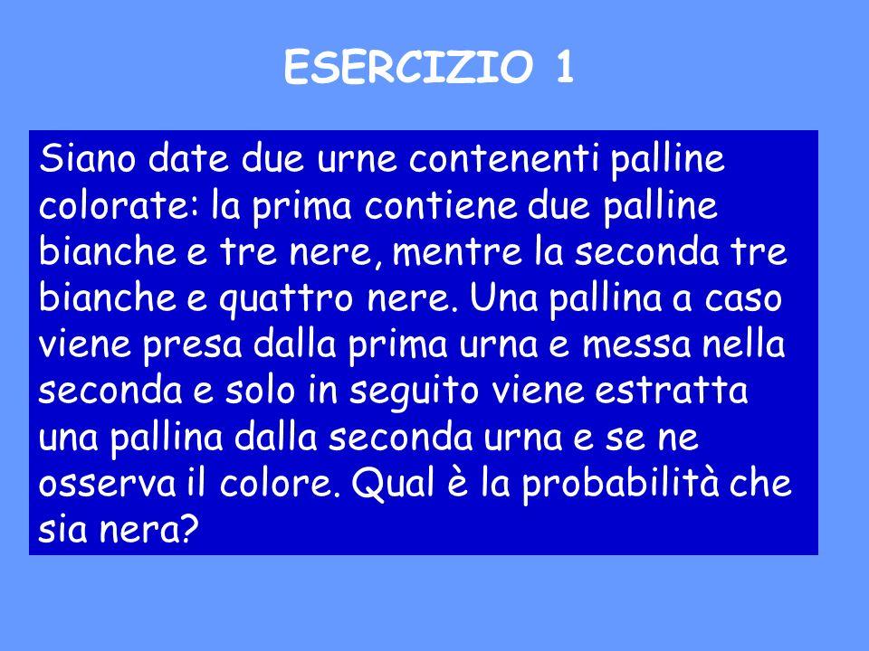 Siano date due urne contenenti palline colorate: la prima contiene due palline bianche e tre nere, mentre la seconda tre bianche e quattro nere. Una p