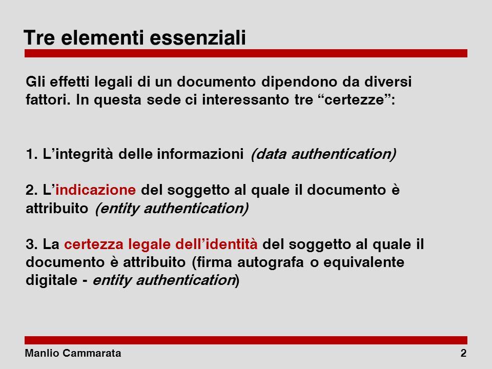 Manlio Cammarata2 Tre elementi essenziali Gli effetti legali di un documento dipendono da diversi fattori.