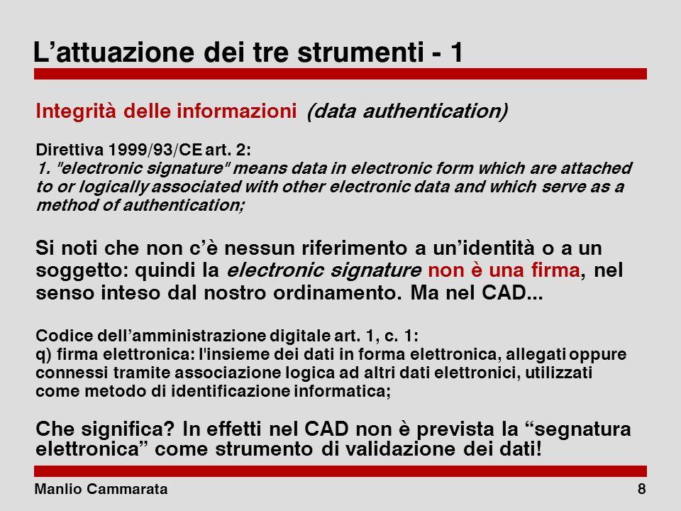 Manlio Cammarata8 Lattuazione dei tre strumenti - 1 Integrità delle informazioni (data authentication) Direttiva 1999/93/CE art.