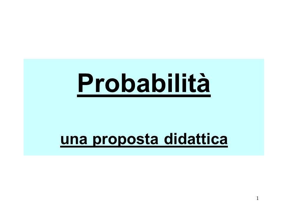 32 Queste schede hanno lo scopo di: riprendere e rafforzare il concetto probabilistico, osservare come avviene la costruzione del ragionamento proporzionale.
