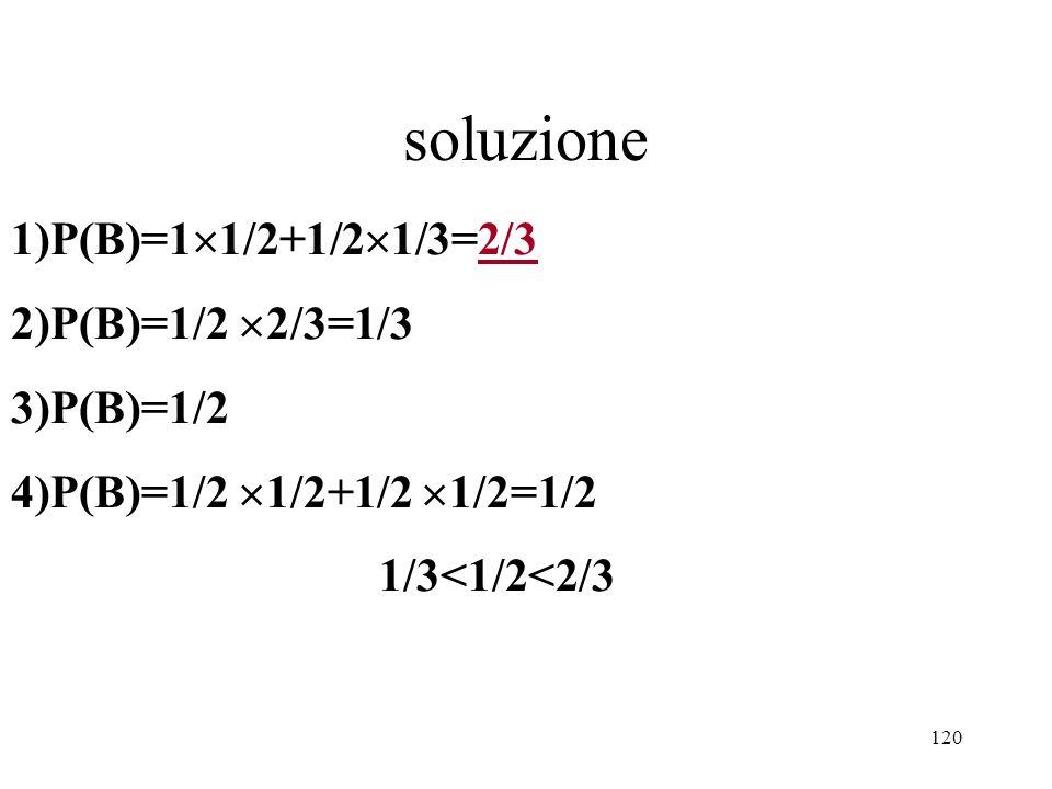 120 1)P(B)=1 1/2+1/2 1/3=2/3 2)P(B)=1/2 2/3=1/3 3)P(B)=1/2 4)P(B)=1/2 1/2+1/2 1/2=1/2 1/3<1/2<2/3 soluzione