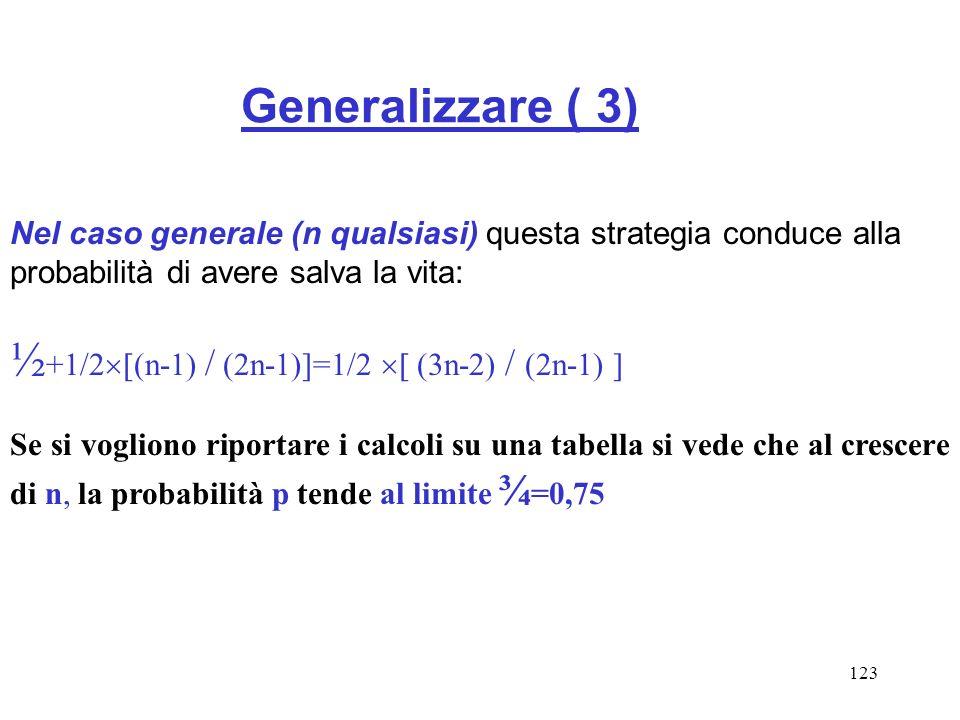 123 Generalizzare ( 3) Nel caso generale (n qualsiasi) questa strategia conduce alla probabilità di avere salva la vita: ½ +1/2 (n-1) / (2n-1)]=1/2 (3