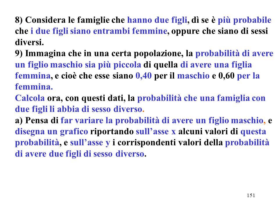 151 8) Considera le famiglie che hanno due figli, dì se è più probabile che i due figli siano entrambi femmine, oppure che siano di sessi diversi. 9)