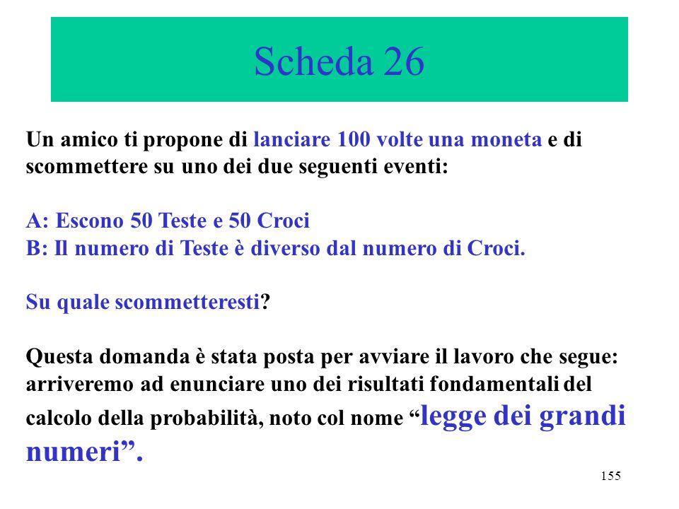 155 Scheda 26 Un amico ti propone di lanciare 100 volte una moneta e di scommettere su uno dei due seguenti eventi: A: Escono 50 Teste e 50 Croci B: I