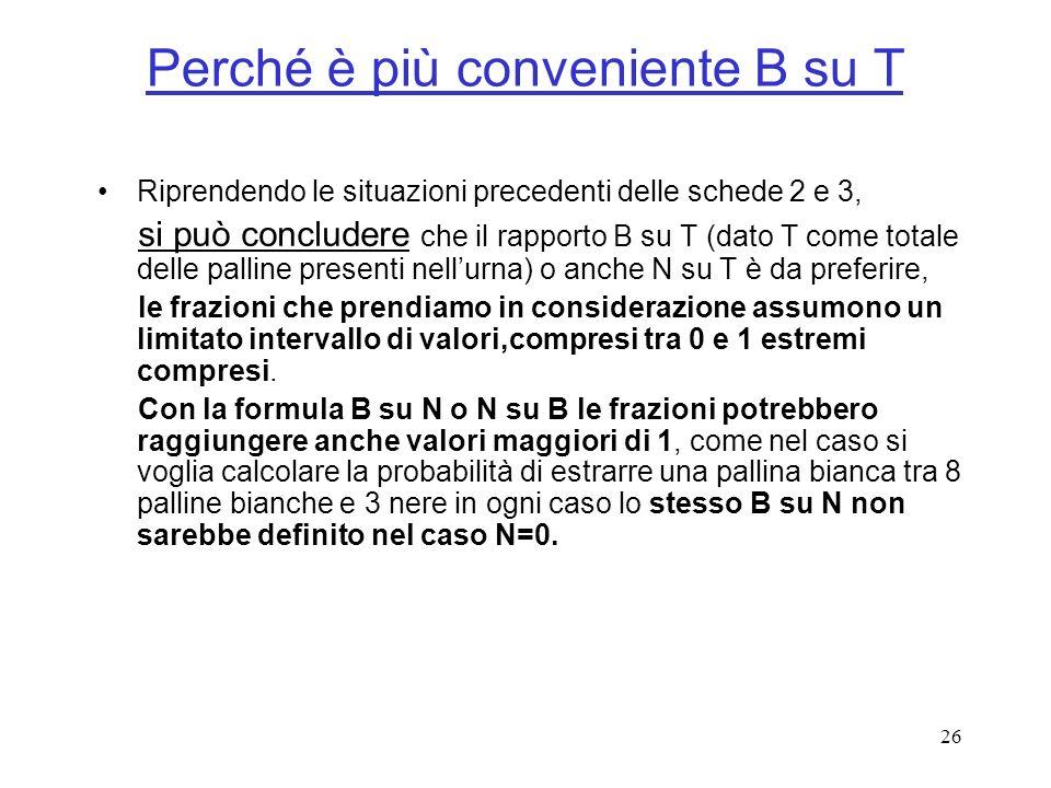 26 Perché è più conveniente B su T Riprendendo le situazioni precedenti delle schede 2 e 3, si può concludere che il rapporto B su T (dato T come tota