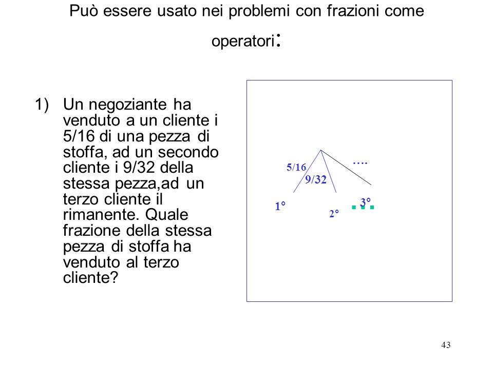 43 Può essere usato nei problemi con frazioni come operatori : 1)Un negoziante ha venduto a un cliente i 5/16 di una pezza di stoffa, ad un secondo cl