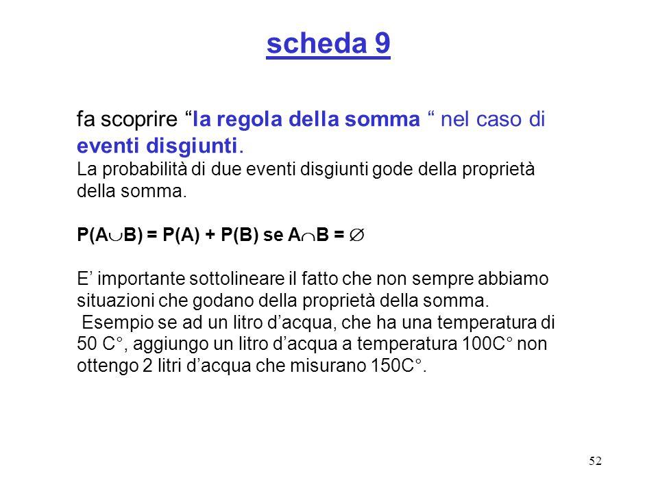 52 scheda 9 fa scoprire la regola della somma nel caso di eventi disgiunti. La probabilità di due eventi disgiunti gode della proprietà della somma. P