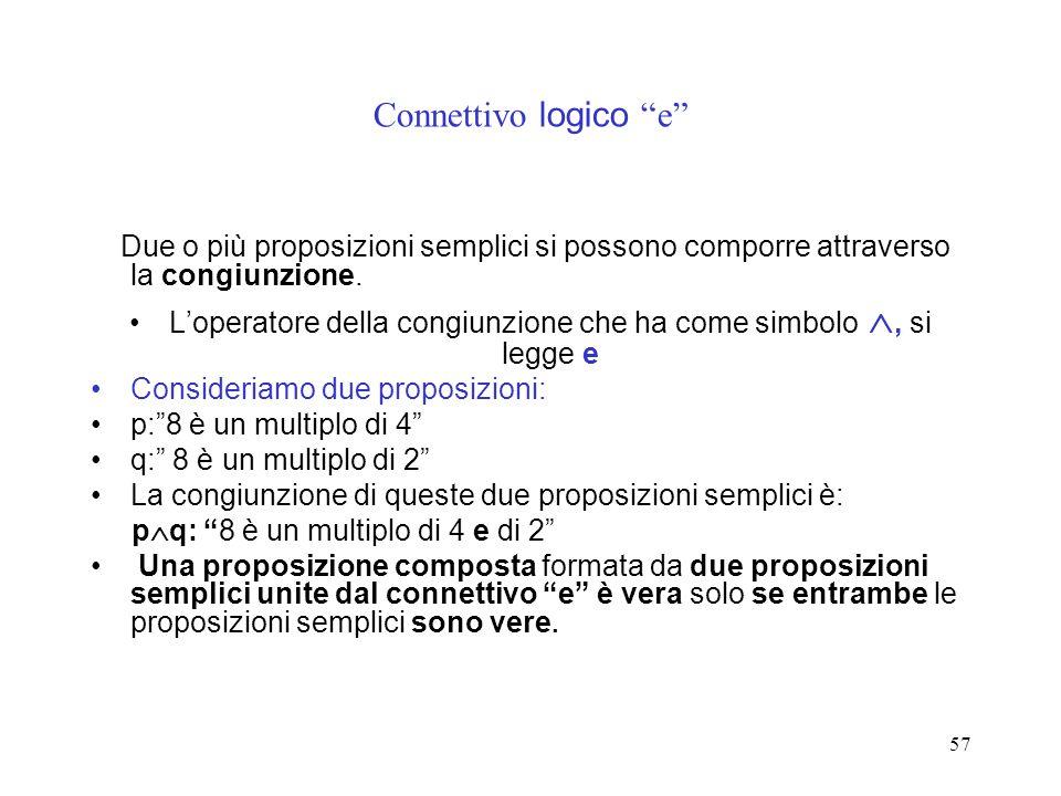 57 Connettivo logico e Due o più proposizioni semplici si possono comporre attraverso la congiunzione. Loperatore della congiunzione che ha come simbo