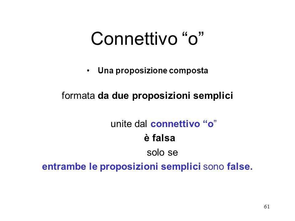 61 Connettivo o Una proposizione composta formata da due proposizioni semplici unite dal connettivo o è falsa solo se entrambe le proposizioni semplic