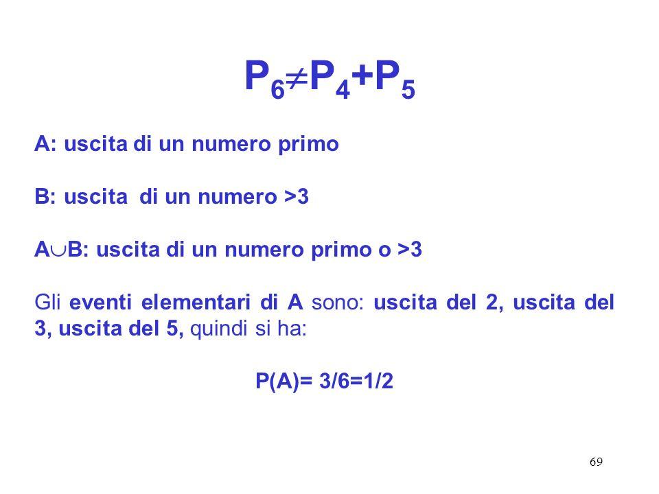 69 P 6 P 4 +P 5 A: uscita di un numero primo B: uscita di un numero >3 A B: uscita di un numero primo o >3 Gli eventi elementari di A sono: uscita del