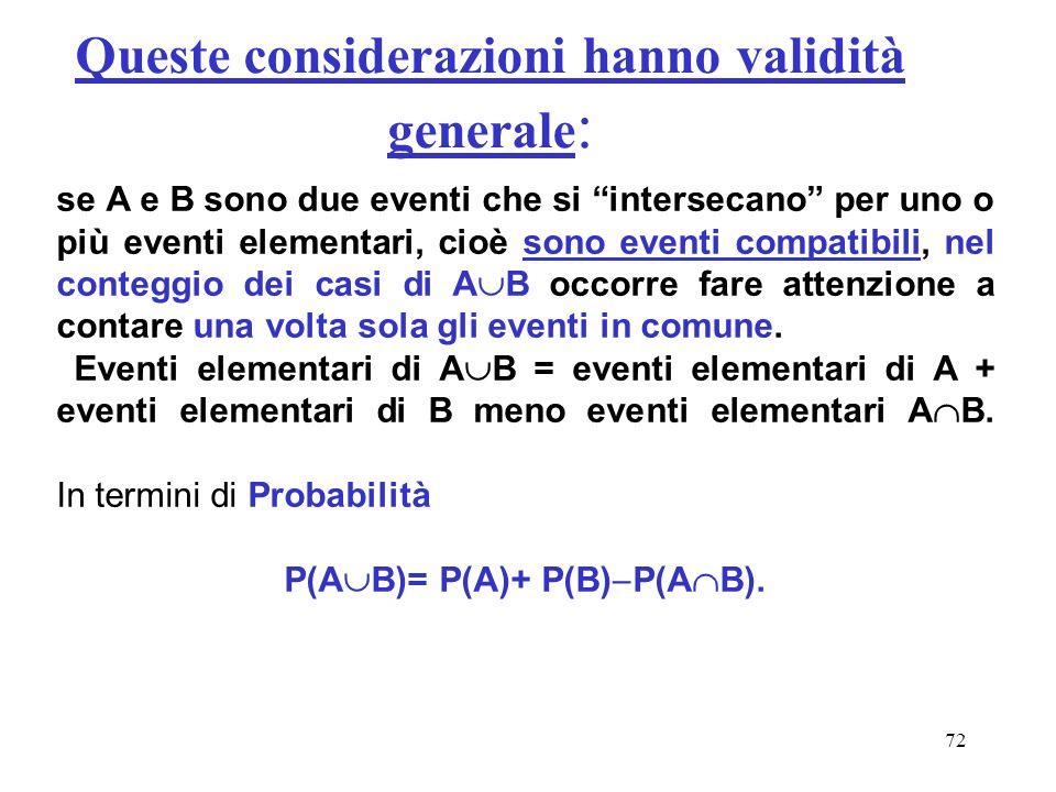 72 Queste considerazioni hanno validità generale : se A e B sono due eventi che si intersecano per uno o più eventi elementari, cioè sono eventi compa