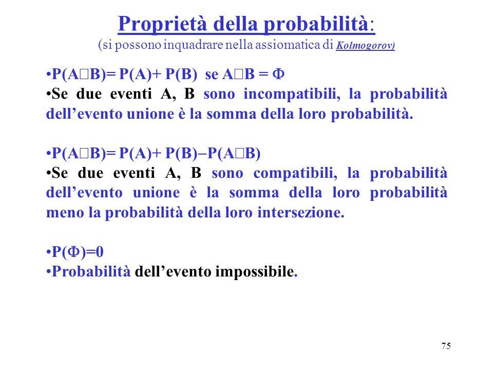 75 Proprietà della probabilità: (si possono inquadrare nella assiomatica di Kolmogorov) P(A B)= P(A)+ P(B) se A B = Se due eventi A, B sono incompatib