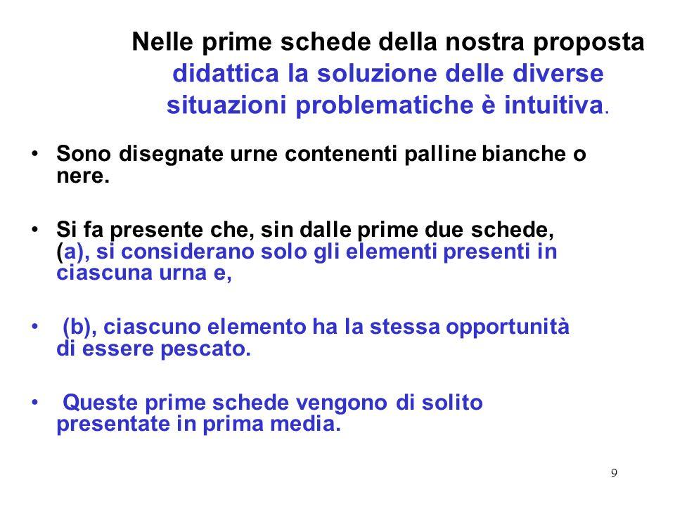 9 Nelle prime schede della nostra proposta didattica la soluzione delle diverse situazioni problematiche è intuitiva. Sono disegnate urne contenenti p