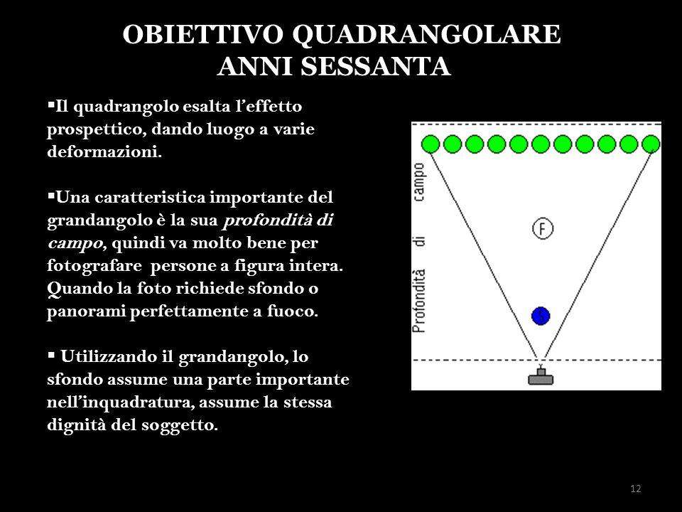 12 OBIETTIVO QUADRANGOLARE ANNI SESSANTA Il quadrangolo esalta leffetto prospettico, dando luogo a varie deformazioni. Una caratteristica importante d