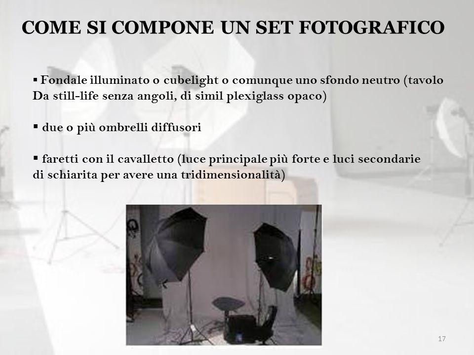 17 COME SI COMPONE UN SET FOTOGRAFICO Fondale illuminato o cubelight o comunque uno sfondo neutro (tavolo Da still-life senza angoli, di simil plexigl