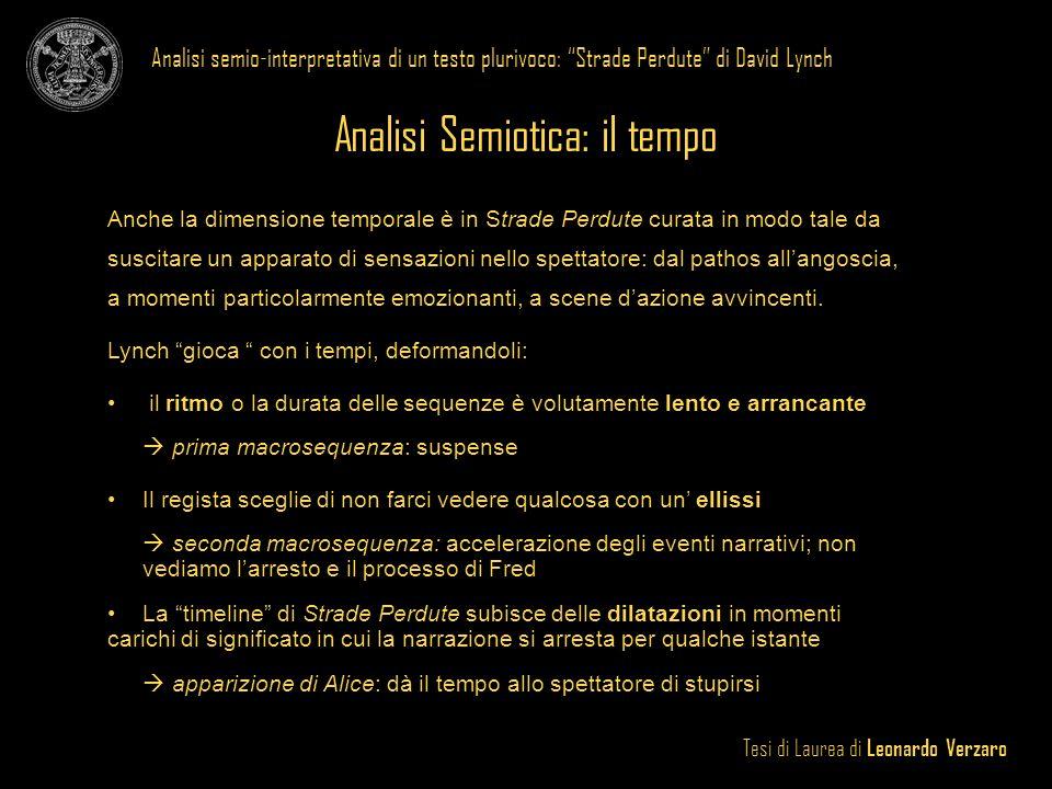 Tesi di Laurea di Leonardo Verzaro Analisi semio-interpretativa di un testo plurivoco: Strade Perdute di David Lynch Analisi Semiotica: il tempo Anche