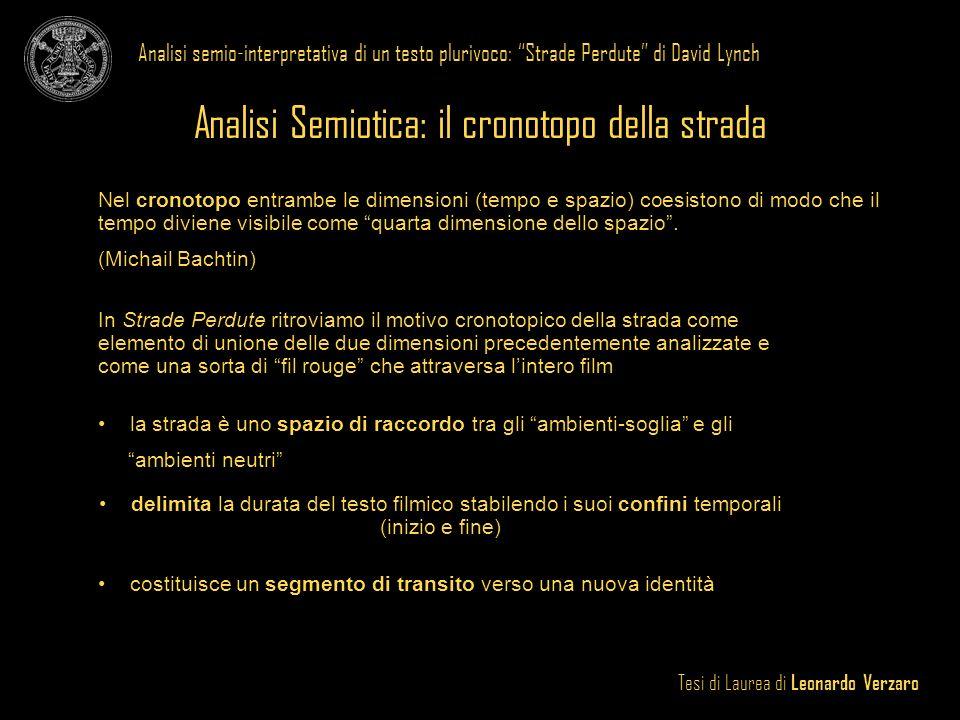 Tesi di Laurea di Leonardo Verzaro Analisi semio-interpretativa di un testo plurivoco: Strade Perdute di David Lynch Analisi Semiotica: il cronotopo d