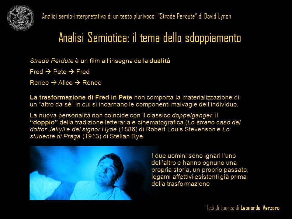 Tesi di Laurea di Leonardo Verzaro Analisi semio-interpretativa di un testo plurivoco: Strade Perdute di David Lynch Analisi Semiotica: il tema dello