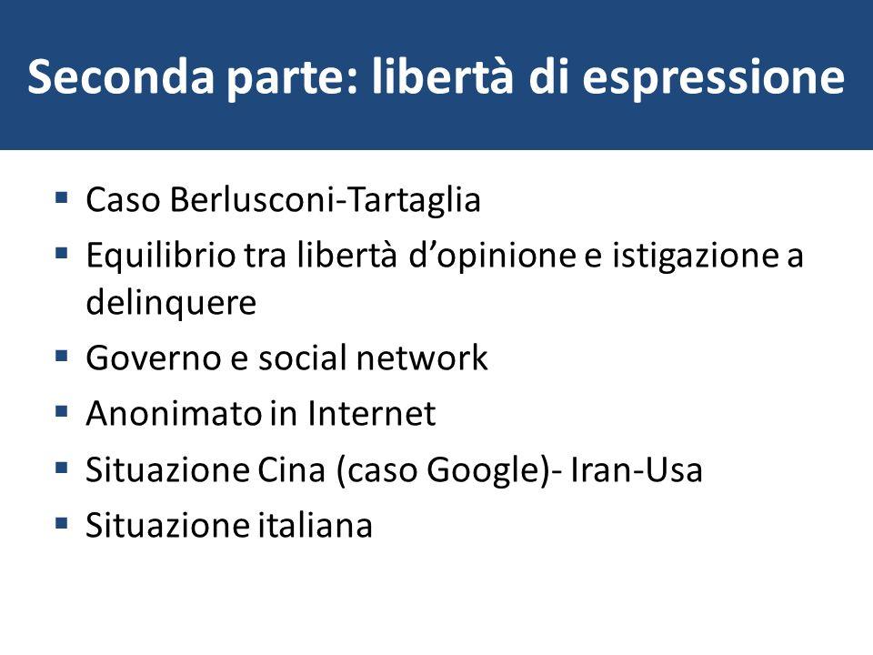 Seconda parte: libertà di espressione Caso Berlusconi-Tartaglia Equilibrio tra libertà dopinione e istigazione a delinquere Governo e social network A