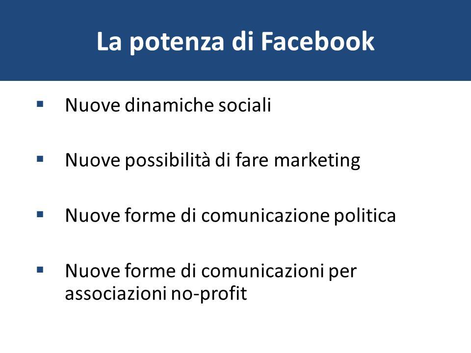 La potenza di Facebook Nuove dinamiche sociali Nuove possibilità di fare marketing Nuove forme di comunicazione politica Nuove forme di comunicazioni
