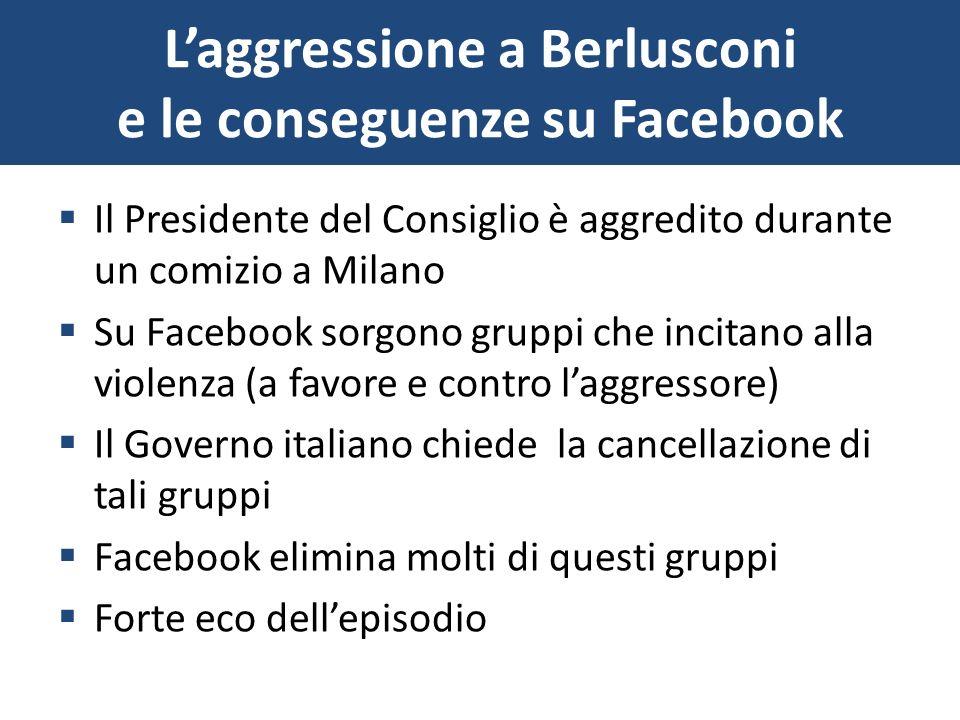Laggressione a Berlusconi e le conseguenze su Facebook Il Presidente del Consiglio è aggredito durante un comizio a Milano Su Facebook sorgono gruppi