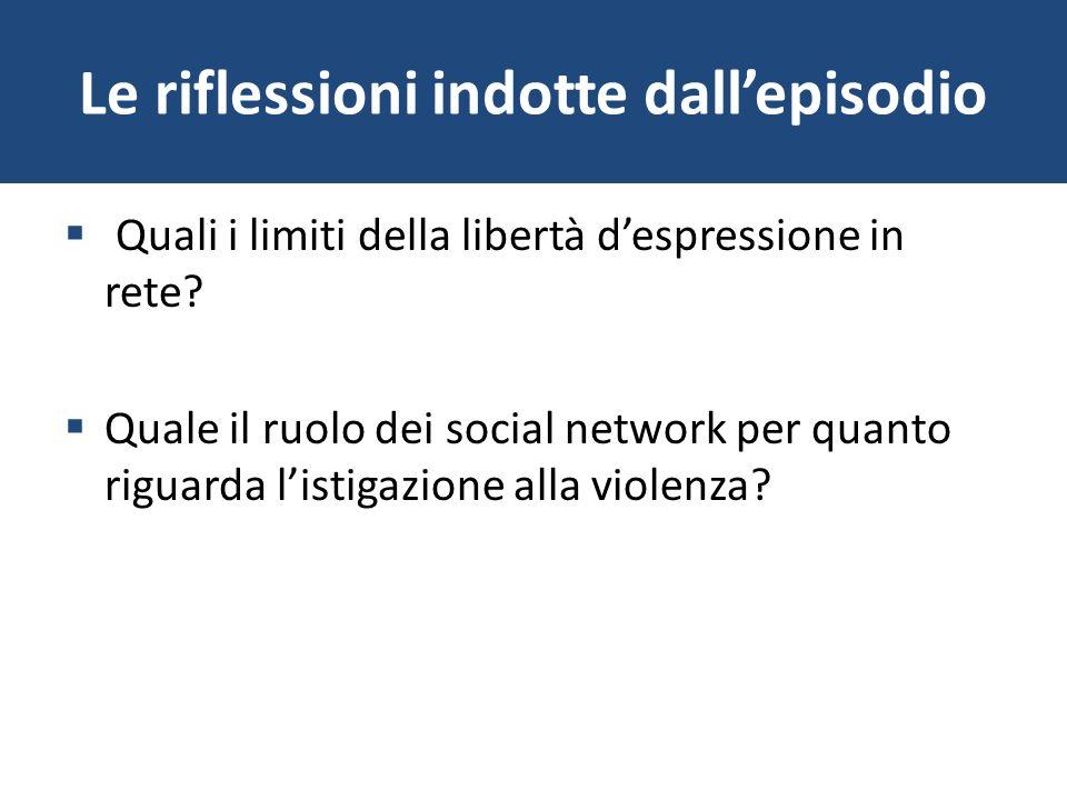 Le riflessioni indotte dallepisodio Quali i limiti della libertà despressione in rete? Quale il ruolo dei social network per quanto riguarda listigazi
