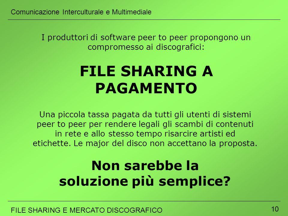 Comunicazione Interculturale e Multimediale FILE SHARING E MERCATO DISCOGRAFICO 10 Una piccola tassa pagata da tutti gli utenti di sistemi peer to pee