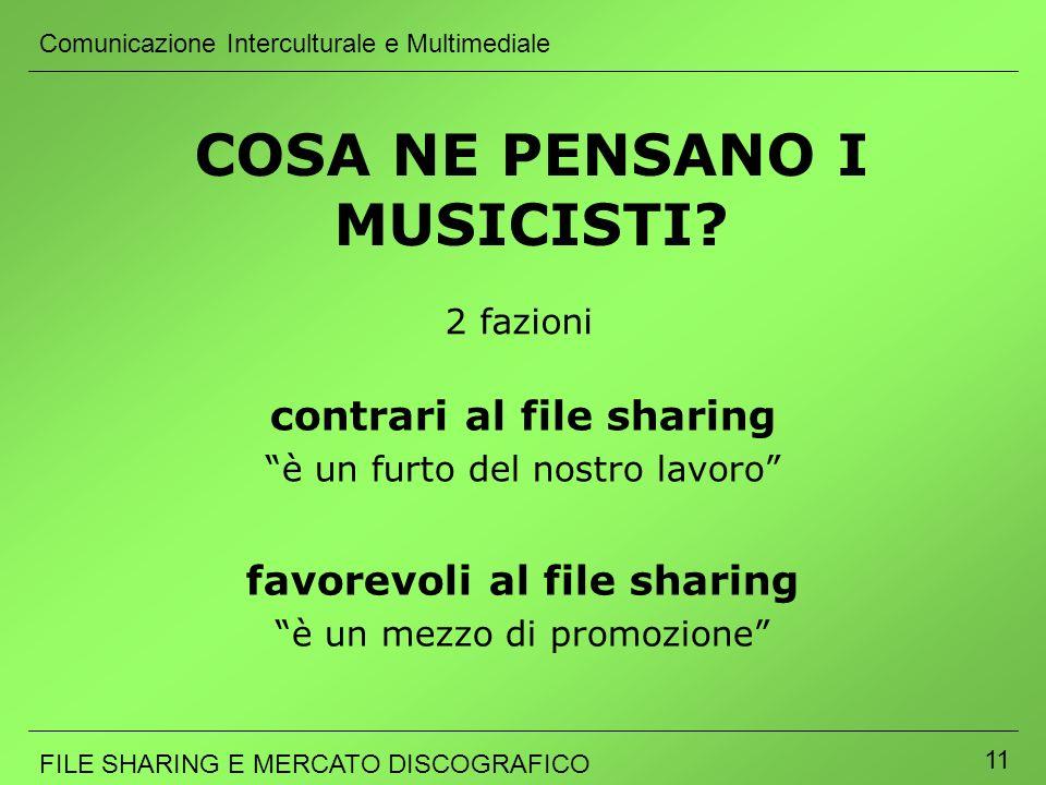 Comunicazione Interculturale e Multimediale FILE SHARING E MERCATO DISCOGRAFICO 11 COSA NE PENSANO I MUSICISTI? 2 fazioni favorevoli al file sharing è